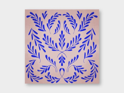 Blue Flora illustration leaves pattern floral pattern motif flora botanical