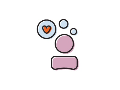 Consumer Satisfaction Icon heart thought bubbles consumer offset icon