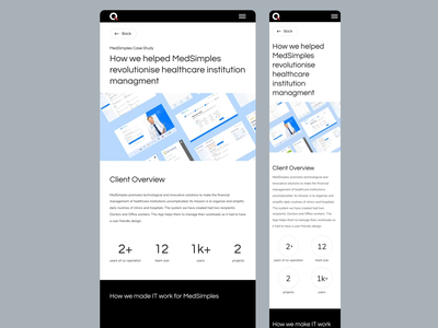 Qodeca Case Study Page - tablet & mobile website visual design user experience ui ux responsive product design page motion mobile ui interaction caste study minimal web animation slider tablet mobile design ux ui