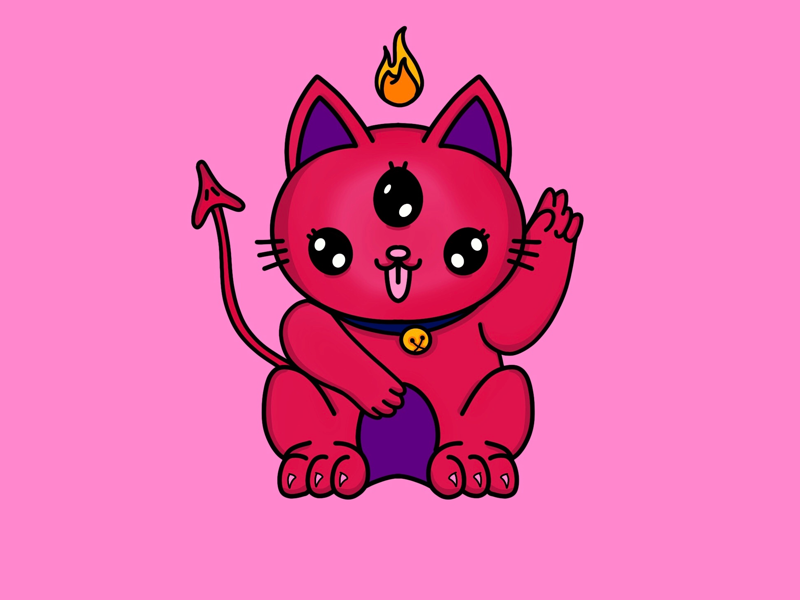 Satan kitty maneki neko kitty kawaii cute satan spooky illustration procreate