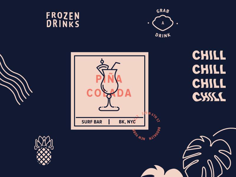 surf bar layout illustration new york branding line art illustrator type