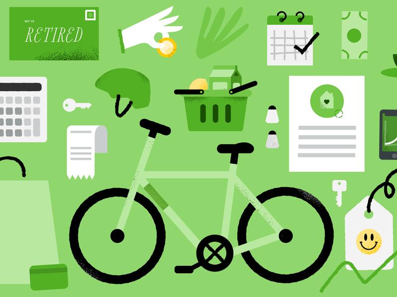 031319 receipt bike helmet dollar illustration green