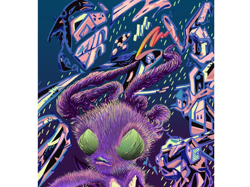 HOWL Noods Radio Poster character design digital painting digital art digitalart wacom photoshop poster design poster colorful radio show noodsradio moth illustrator illustration