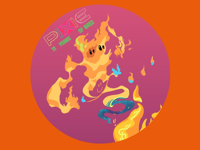 PIXIE Underground Anniversary Stickers 8 pixie underground sticker design design graphic character design character anniversary flyer stickers sticker fine arts colorful illustrator illustration fire flame