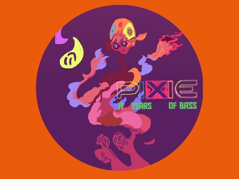 PIXIE Underground Anniversary Stickers 12 designs graphic design graphic stickers sticker character design character design colorful fine art illustrator illustration
