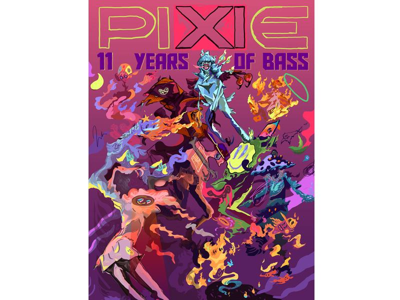 PIXIE Underground Anniversary Poster typography design graphic graphic design characters design character illustrator illustration poster design poster poster art pixie underground anniversary party