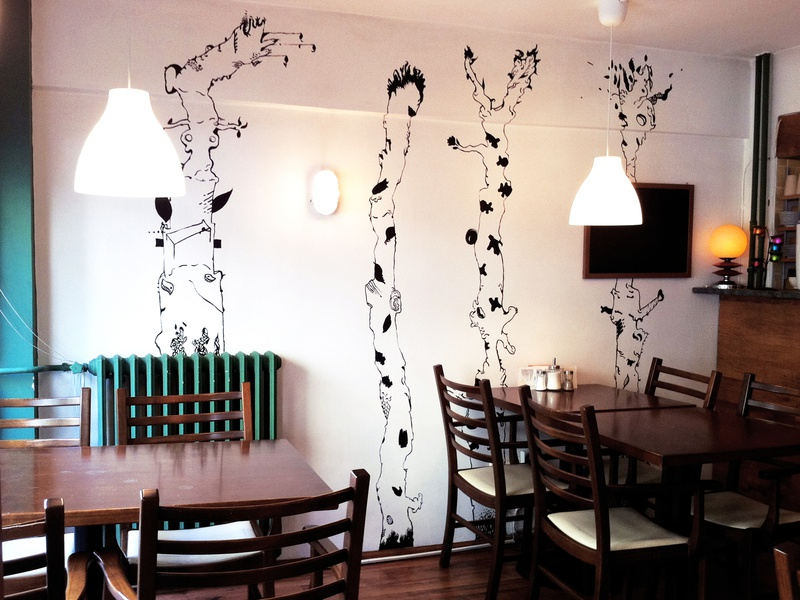 Kutu Cafe Mural design minimal jungle trees acrylics painting cafe decoration decor mural design muralist wall art wallart mural fine art black and white linework bnw illustrator illustration