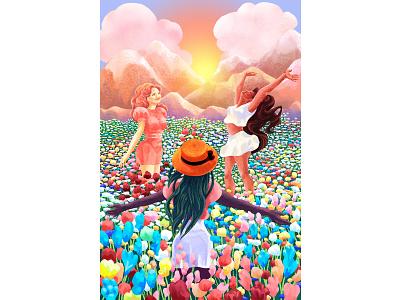🌺🌸🏵️ Flower Field 🏵️🌺🌸 dancing field friends sun mountains digitalillustration digital painting digitalart joy women nature flower field flowers flower illustration design figure fine art colorful illustrator illustration