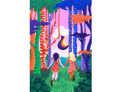 🌳 Running In The Forest 🌳 handinhand ecekalabak digital painting digital illustration digital art flat design trees forest running women rainbow girls character figure fine art colorful illustrator illustration