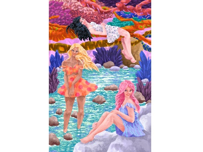 💦 At The River 💦 pattern ecekalabak digital painting digitalart relief fun joy women river characters character sketch figure colorful illustrator illustration
