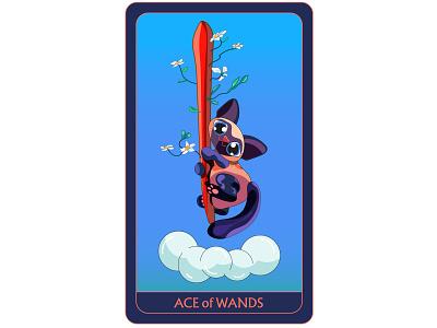 🌱 Ace of Wands 🌱 ace of wands card design design siamese ecekalabak tarot cards tarot deck tarot flat illustrator flat design character design character colorful illustrator illustration