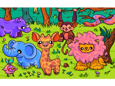 Jungle design puzzle spot the difference kids illustration character design kawaii snake monkey lion jungle illustrator illustration