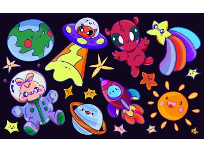 Space space ece kalabak spot the difference puzzle kids illustration illustrator illustration