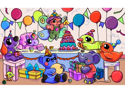 Birthday Party spot the difference puzzle cute ece kalabak caharacters kawaii party birthday colorful illustrator illustration