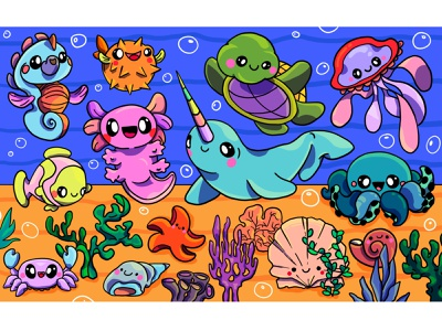 Underwater Cuties ece kalabak kids illustrations spot the difference puzzle cuties characters kawaii underwater colorful illustrator illustration