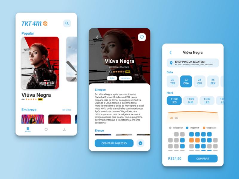 Movies Ticket App minimal flat app typography branding ux ui design