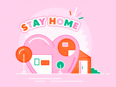 Stay home ! creative heart homepage stayhome orange illustration art pink illustration illustrator