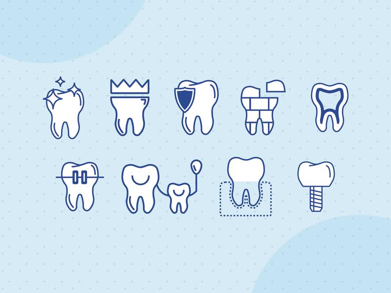 Blue Oak Dental Service Icons minimal icon web design illustration