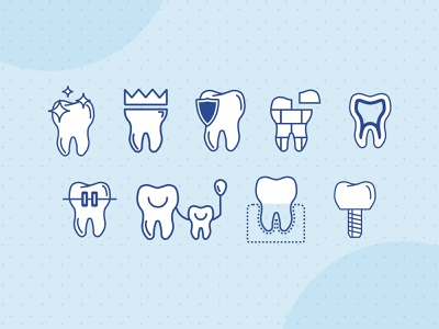 Blue Oak Dental Service Icons minimal icon web design illustration