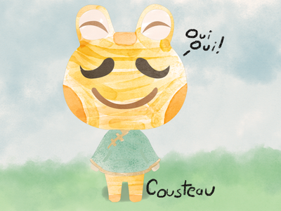 Animal Crossing Art - Cousteau cousteau water color animal crossing new horizons animal crossing portrait vector art art nintendo video games photoshop illustrator