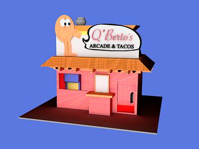Q*Bertos tacos retro gaming modeling 3d c4d cinema 4d cinema4d arcade illustration