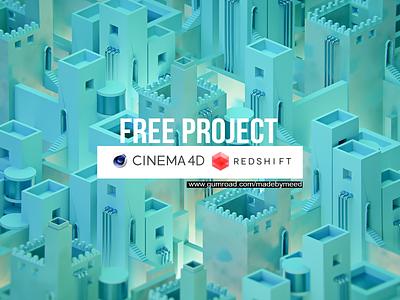 FREE PROJECT _ isometric city city free files isometric cinema4d freebie