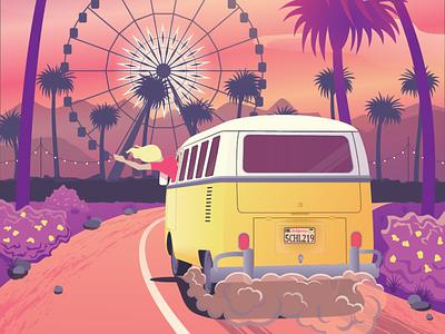Coachella trip volkswagen bus coachella vector illustration