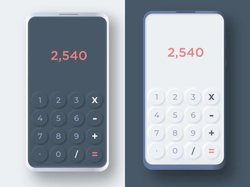 Neomorphism - Calculator UI shadow interface design soft dailyui calculator app calculator ui calculator clean ui minimalist uiux neomorphic neomorphism interface adobexd