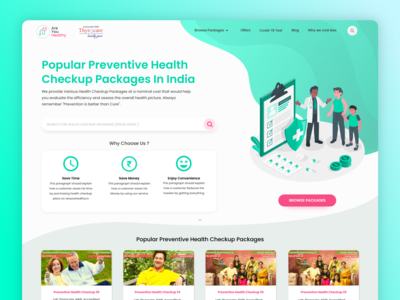 Health Checkup Portal - Landing Page landing page homepage healthcheckup medical app medicare health app healthcare minimalist ux  ui minimal ui soft interface design interface adobexd