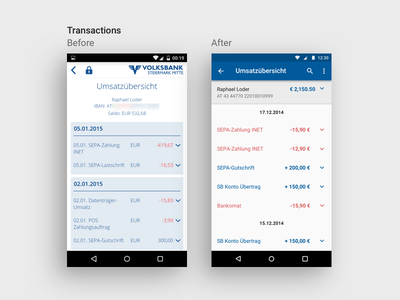 Mobile Banking Transcation Overview ui interface user android design material app banking mobile transaction comparison redesign