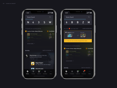 Steam App Redesign concept dashboard home steam application interaction ios user interface redesign design app mobile ui