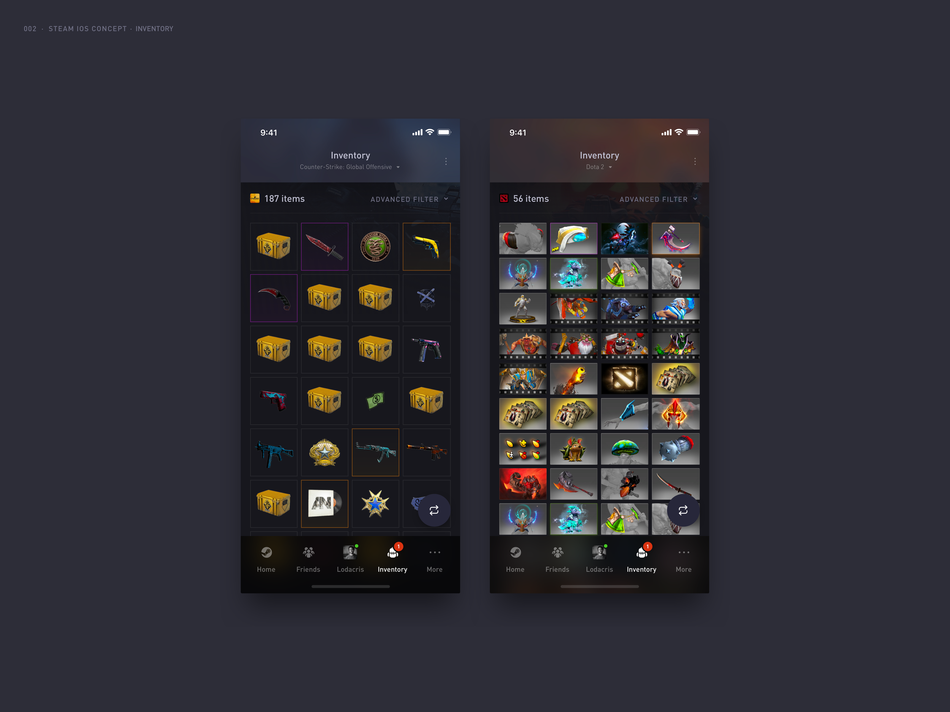 Raphael Loder / Projects / Steam Mobile App | Dribbble