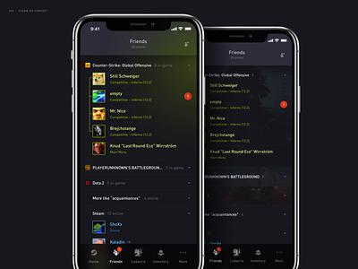 Steam App Redesign – Friends friends steam concept ios application interaction user interface redesign design app mobile ui