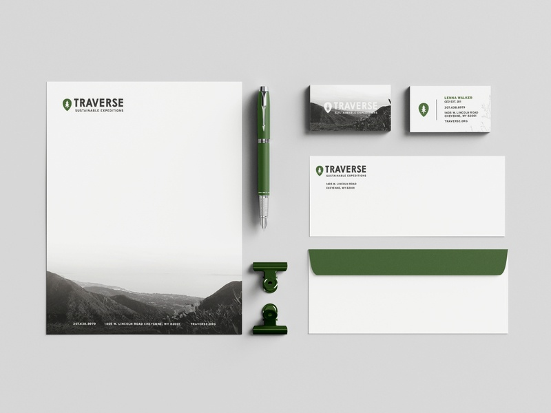 Traverse Sustainable Expeditions Stationery Set photography idenity texture logo brand earth sustainable graphic design stationery set business card envelope typography icon letterhead logo letterhead stationery design graphic