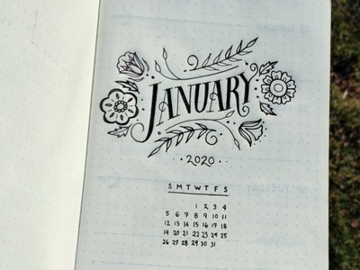 January 2020 calendar type design organization illustration typography custom lettering hand lettering bullet journal