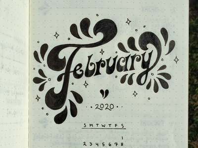 February 2020 organization calendar illustration graphicdesign 70s groovy type hand lettering custom lettering typography design