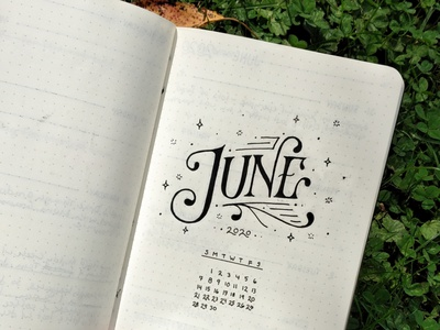 June 2020 design orginization calendar typedesign type typography sketchbook custom lettering hand lettering
