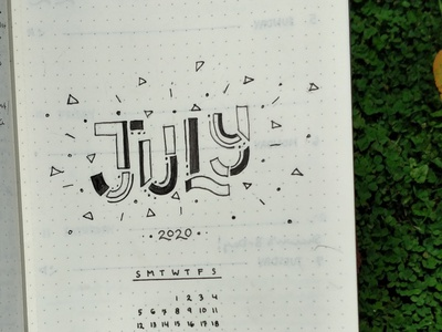 July 2020 sketch graphicdesign type design illustration typography calendar design calendar
