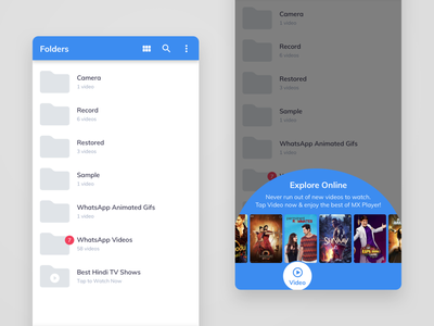 MX Player – Videos ui android app design bollywood streaming service streaming app video player
