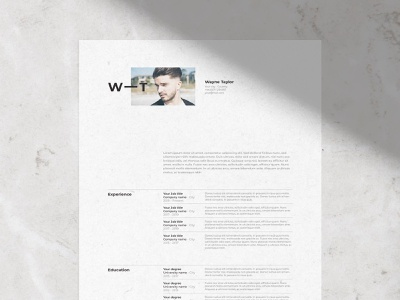 Wayne | CV / resume template creativemarket creative cv resume template resume modern minimal cv curriculum vitae clean a4
