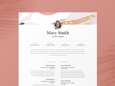 Mary | CV / resume template us letter a4 cv template resume template resume design cv design creativemarket template colorfull creative pattern graphic curriculum vitae resume cv