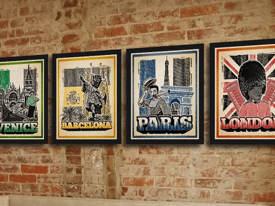 City Spotlights retro print vintage old typography international venice barcelona paris london graffiti collage