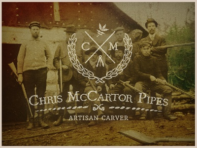 Chris McCartor Pipes | Logo retro branding tobacco old pipe hand lettering wood vintage hunting