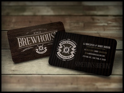 The Brewhouse Gallery | Silk Biz Cards art coffee craft beer studio vintage hand lettering logo print typography gold foil