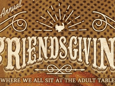 Friendsgiving | The Brewhouse Gallery art thanksgiving holiday branding happy hour beer coffee craft beer gallery vintage retro hand lettering