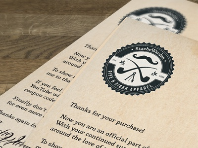 StacheWarden Purchase Letter retro screen old typography print apparel t-shirt vintage pipe club cigar identity letterhead