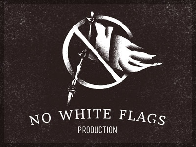 No White Flags Production | Logo retro logo surrender flag old typography print vintage video production identity branding