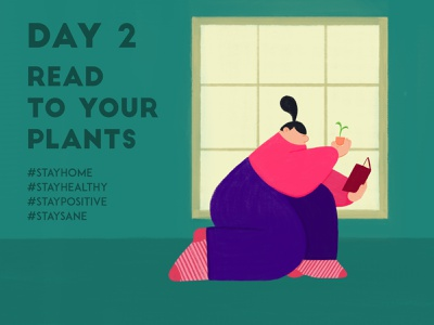 DAY 2 - Read to your plants covid-19 quarantine violet stay safe stay home character window book reading plants plant illustration design adobe photoshop illustrator character design illustration
