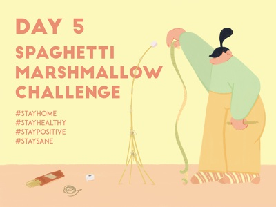 DAY 5 - Build a tower playtime home quarantine covid-19 covid challange spaghetti marshmallow stay safe stay home graphic design adobe photoshop illustrator character design illustration