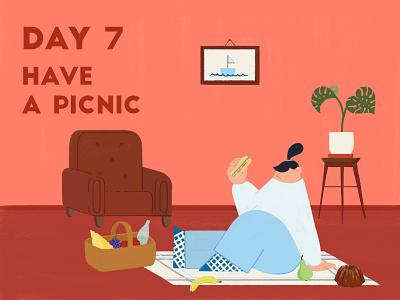 DAY 7 - Have a picnic food picnic product illustration quarantine stay safe stay home graphic design design adobe photoshop illustrator character design illustration